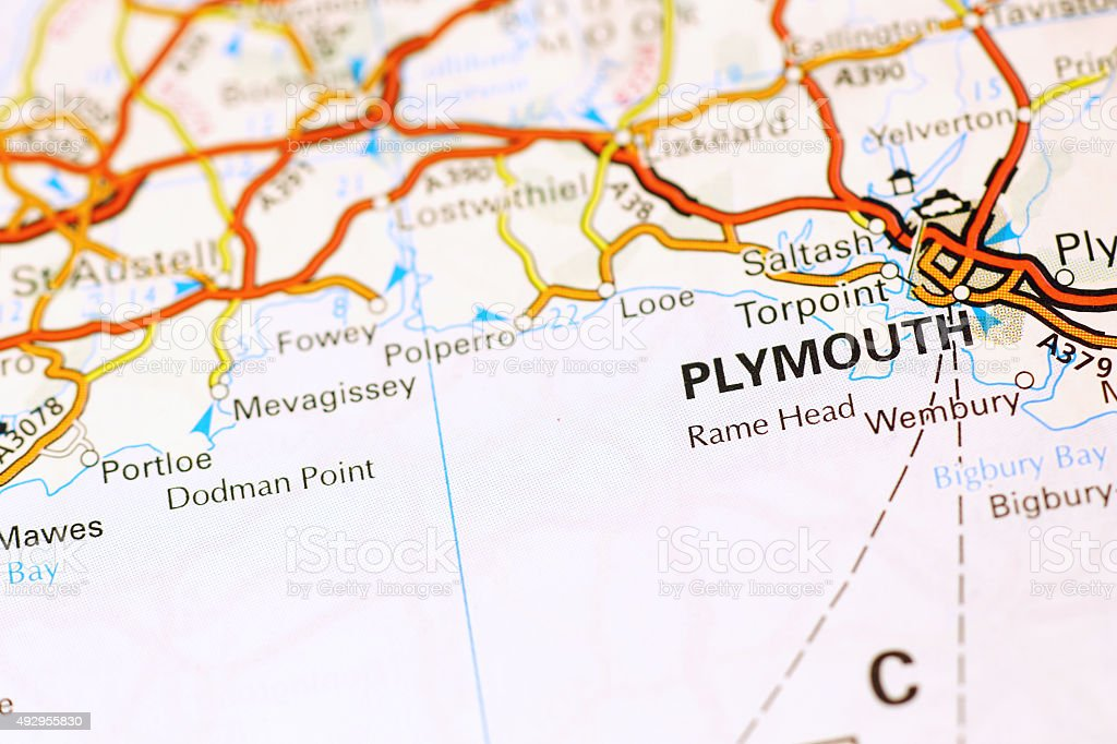 Plymouth area on a map stock photo