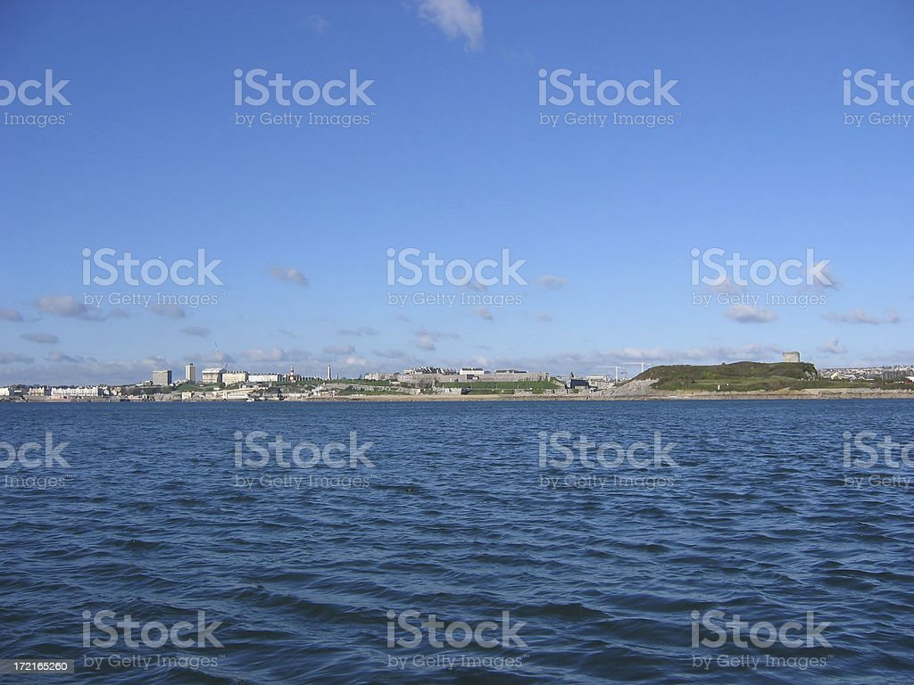 Plymouth from the sound royalty-free stock photo