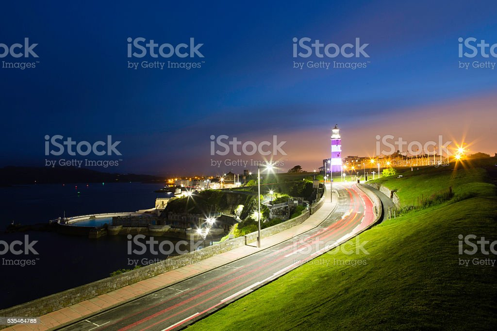 Plymouth Hoe at Night stock photo