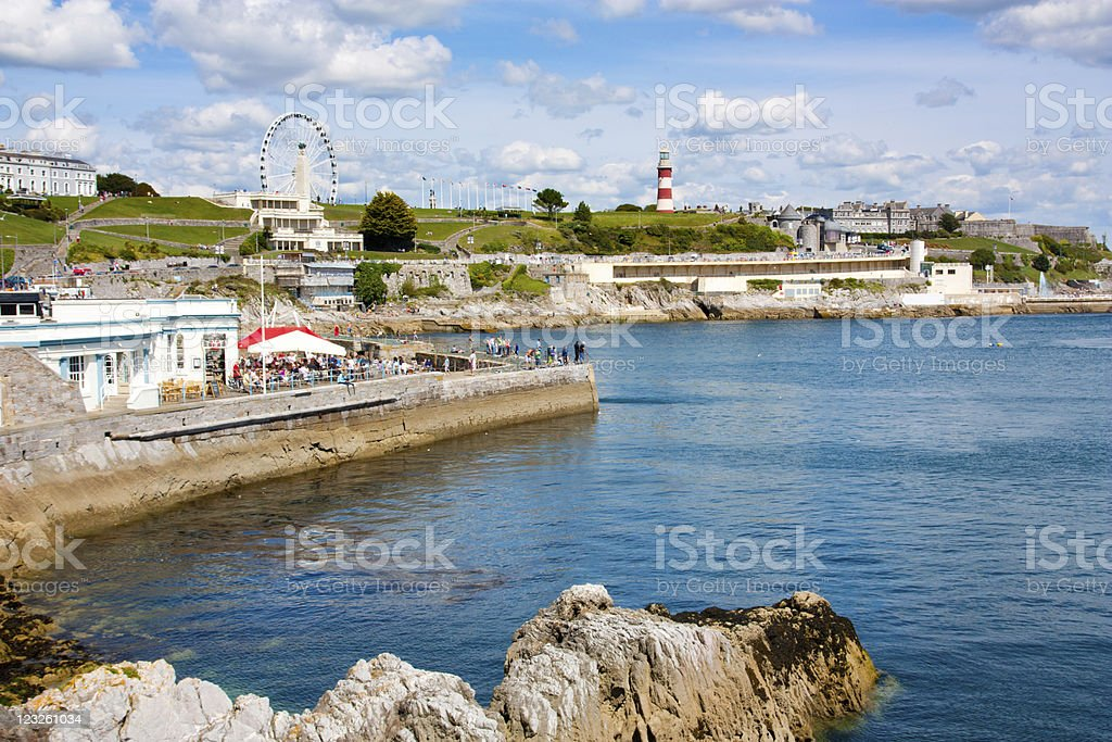 Plymouth Rock and ocean by the bay stock photo