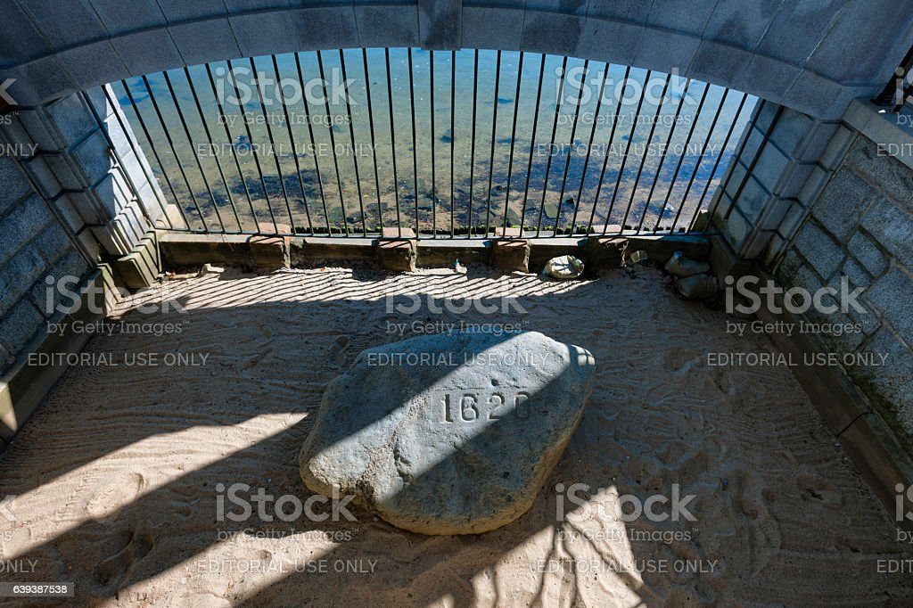 Plymouth Rock in Plymouth Massachusetts stock photo