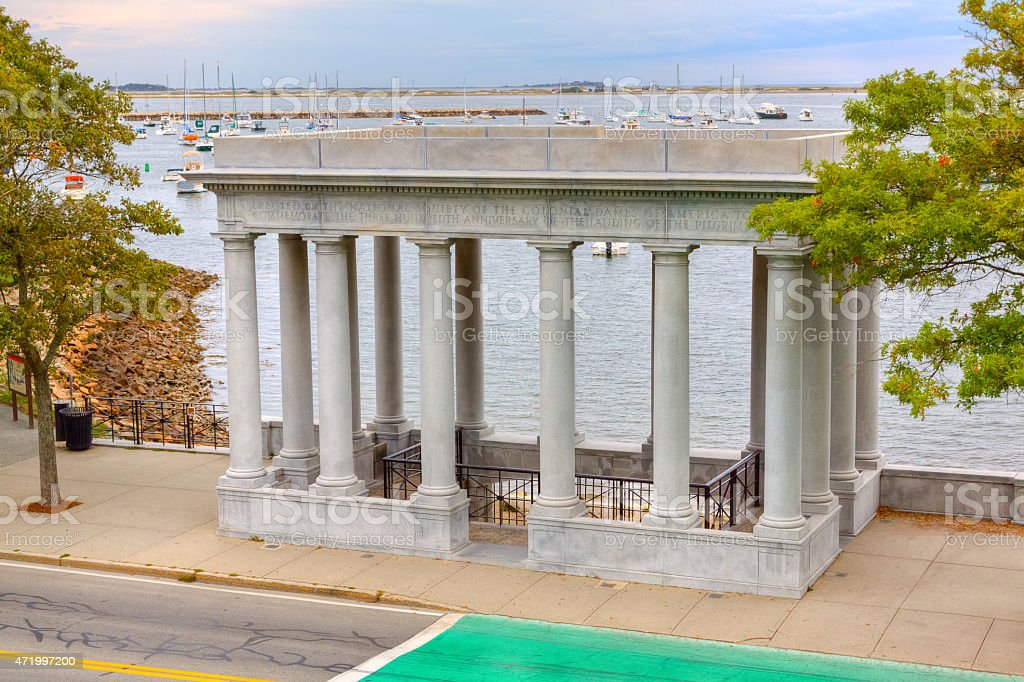 Plymouth Rock, Landing Place of Pilgrims in 1620. Plymouth, Massachusetts stock photo