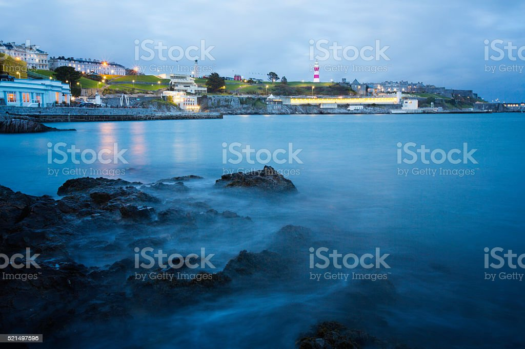 Plymouth Seafront at Twilight stock photo
