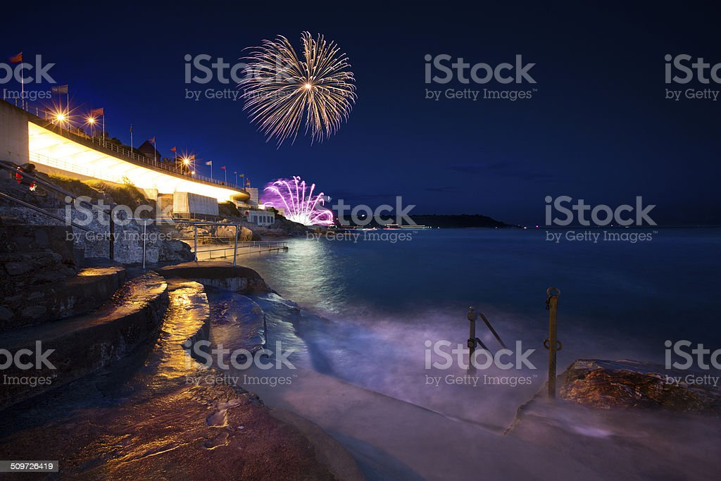 Plymouth Seafront Fireworks stock photo