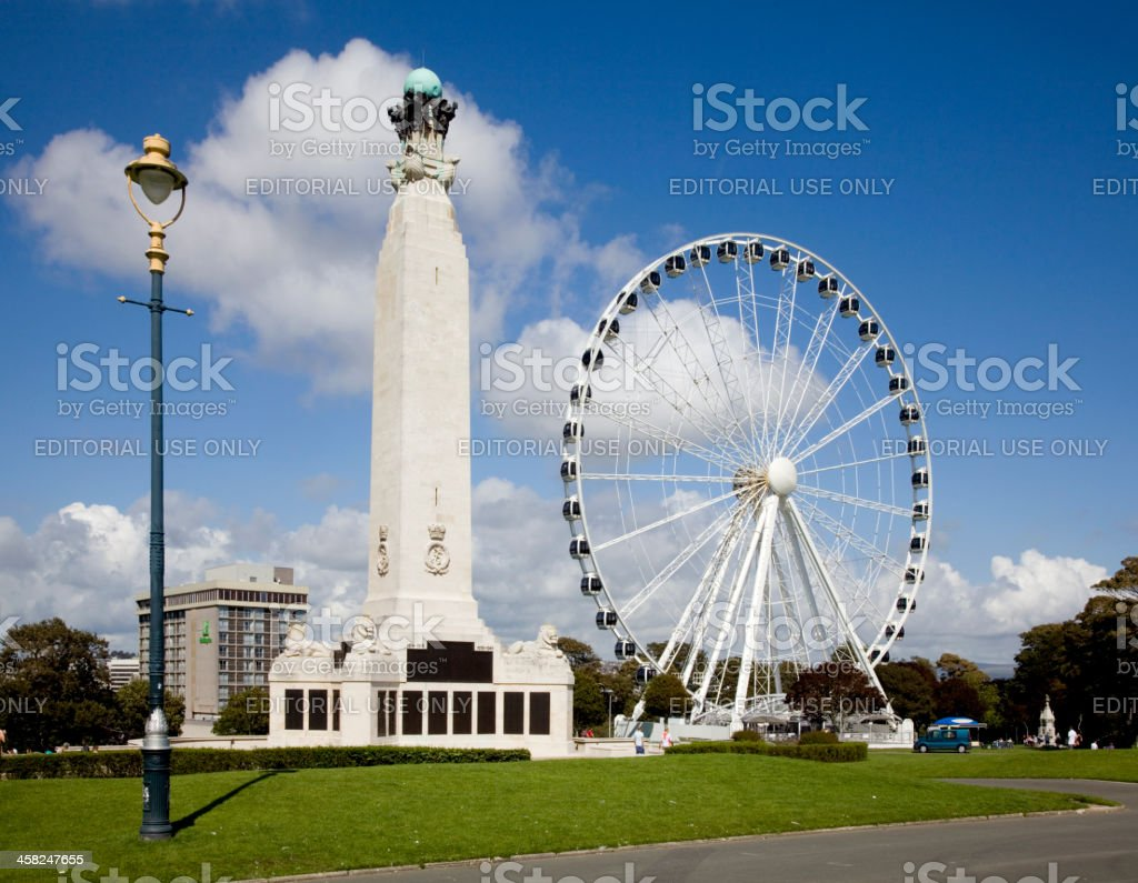 Plymouth War Memorial, large wheal and Street Lamp stock photo