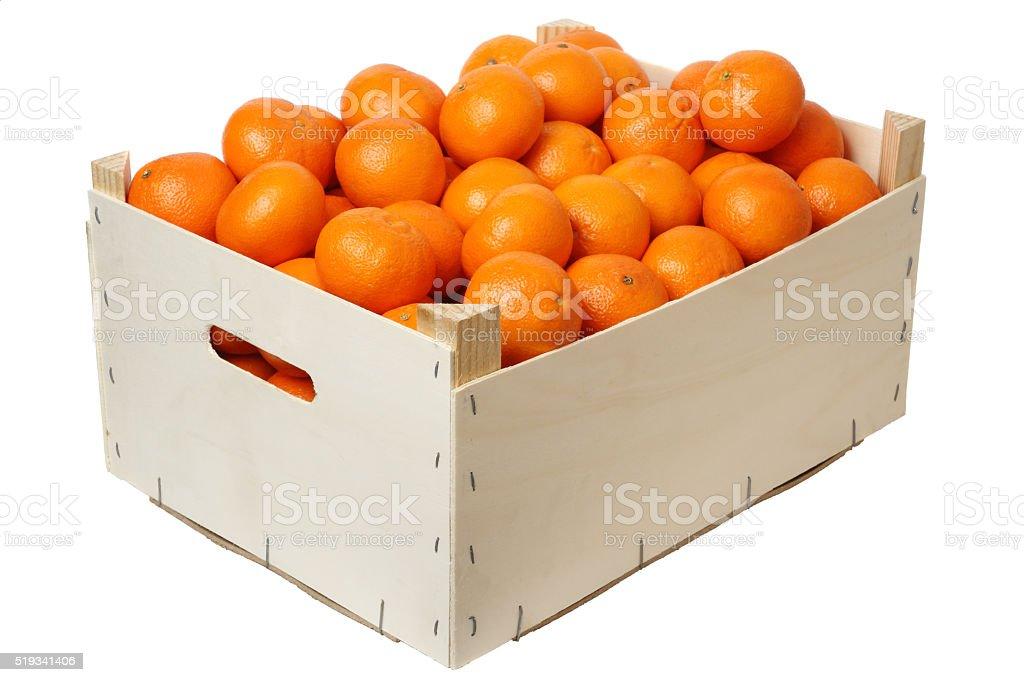 Plywood box full of mandarins stock photo