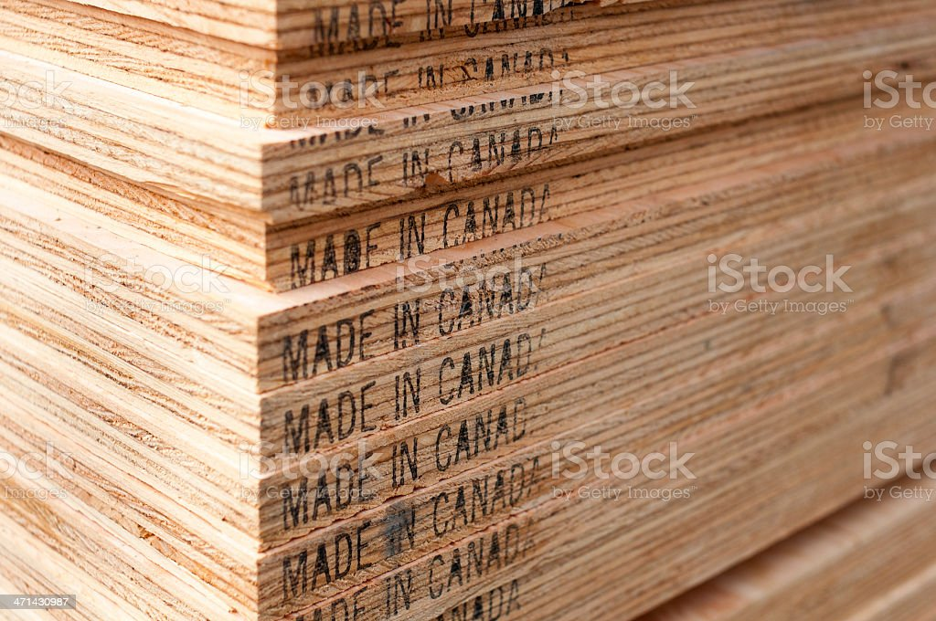 Plywood made in Canada stock photo
