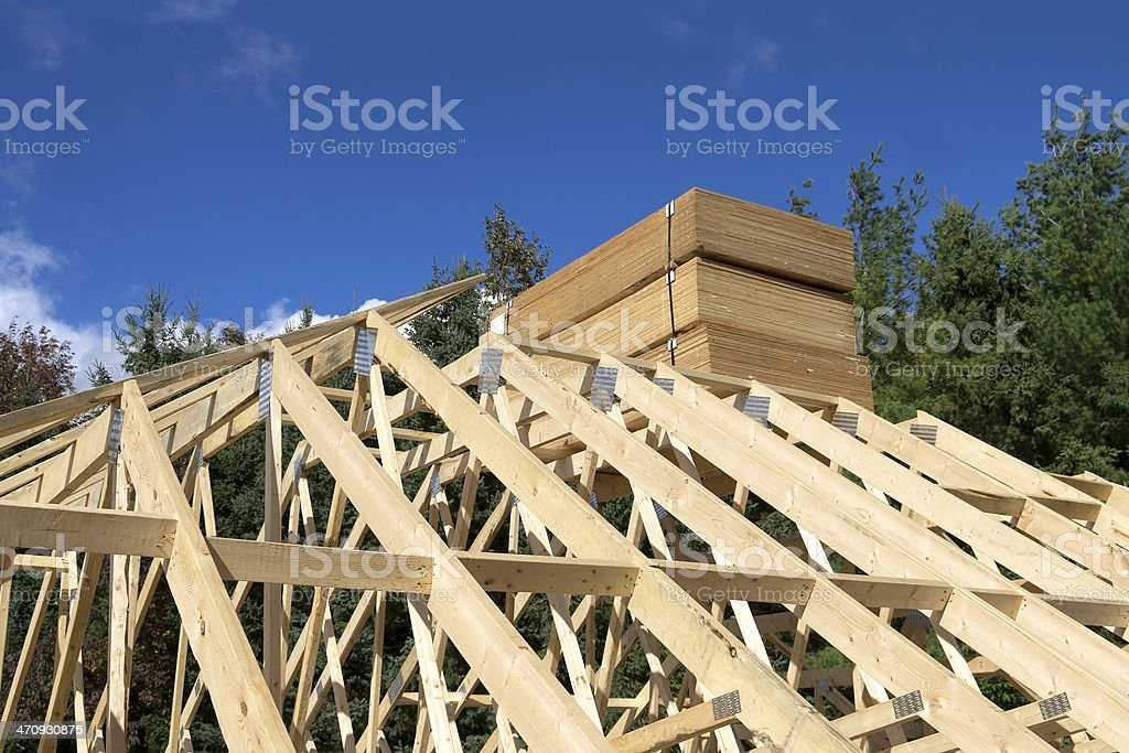 Plywood on Roof Trusses royalty-free stock photo