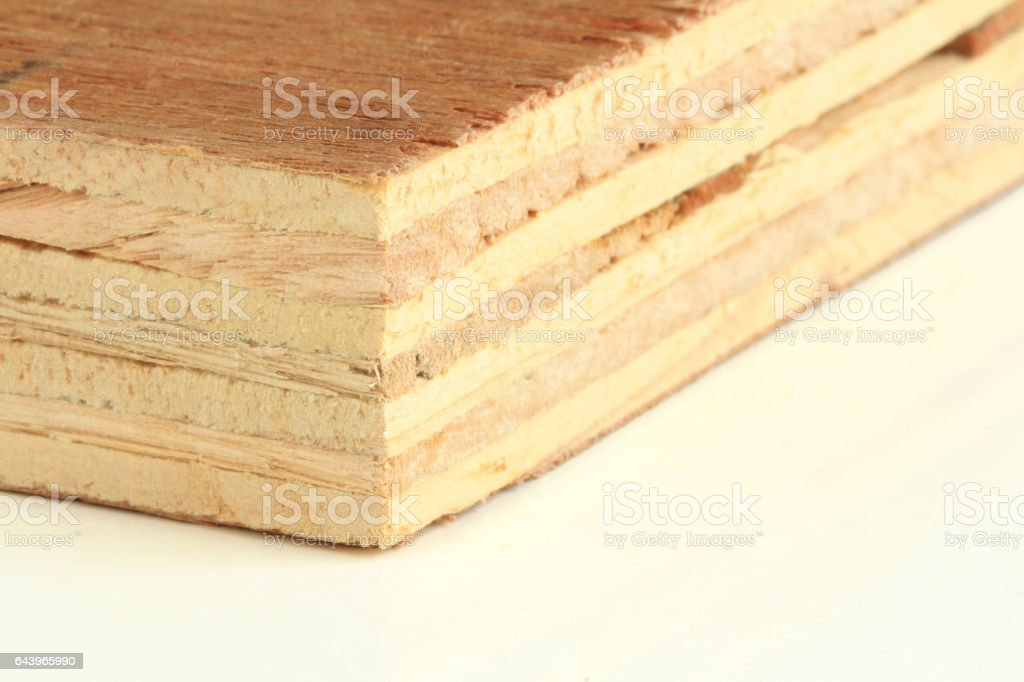 Plywood on white background Macro stock photo