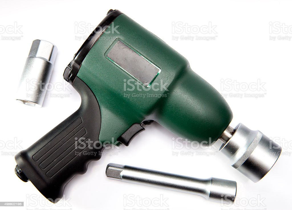pneumatic, air impact wrench and nozzles stock photo