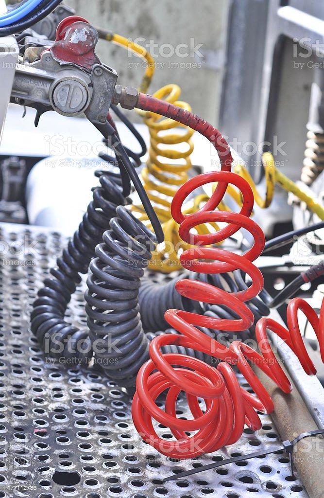 Pneumatic hoses stock photo