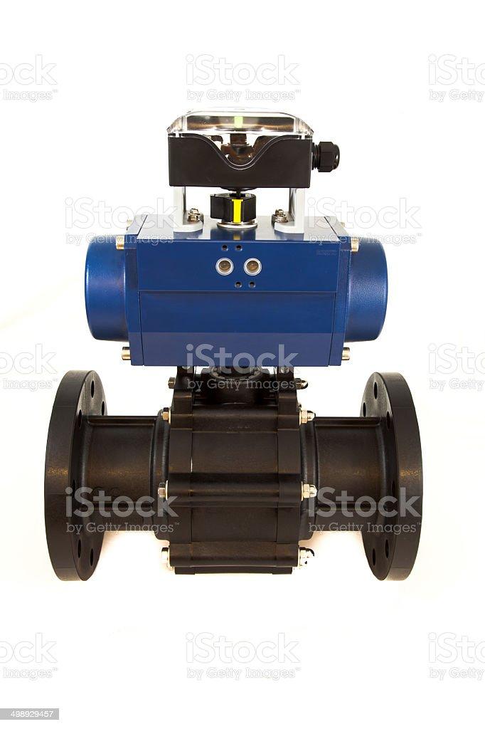 Pneumatic valve with actuator stock photo