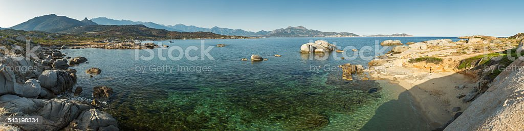 Pnoramic view of Calvi bay from Punta Spanu in Corsica stock photo