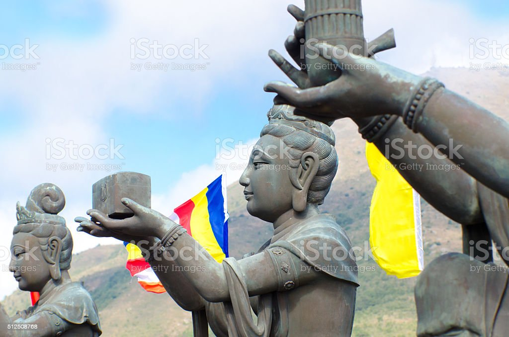 Po Lin Monastery Buddha in Hong Kong stock photo