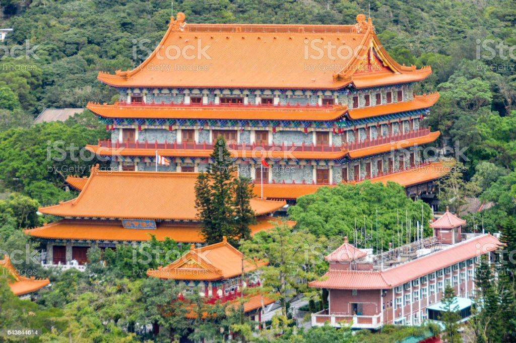 Po Lin Monastery in Hong Kong stock photo