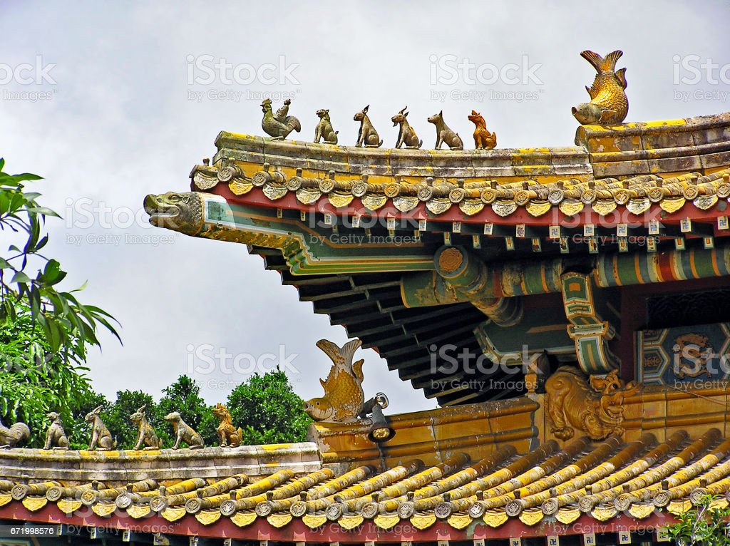 Po Lin Monastery on Lantau Island in Hong Kong stock photo