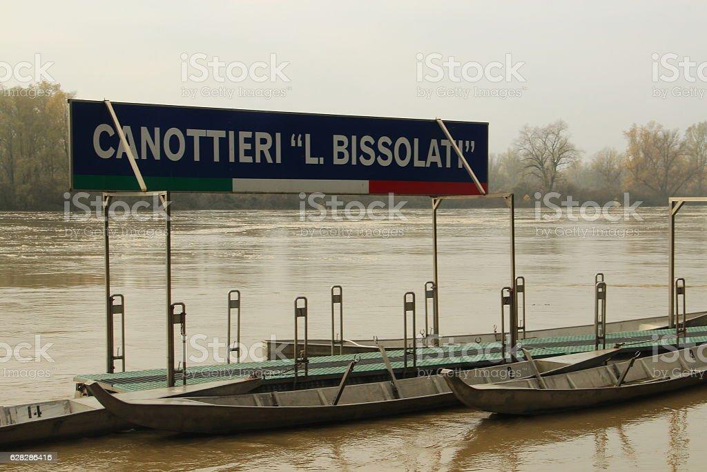 Po river near Cremona in northern Italy stock photo
