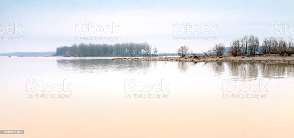 Po river shores panorama, wintertime. Color image stock photo