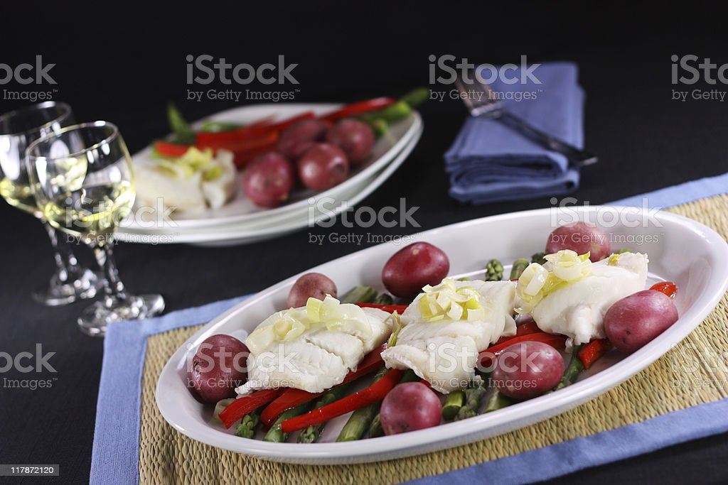 Poached Cod royalty-free stock photo