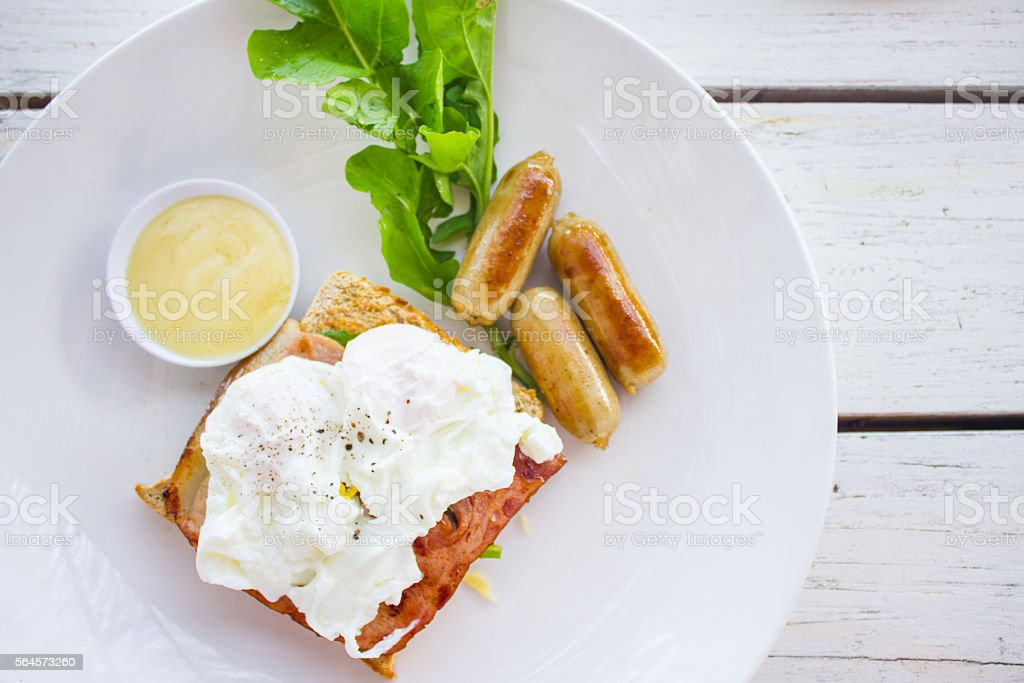 Poached egg breakfast sandwich stock photo