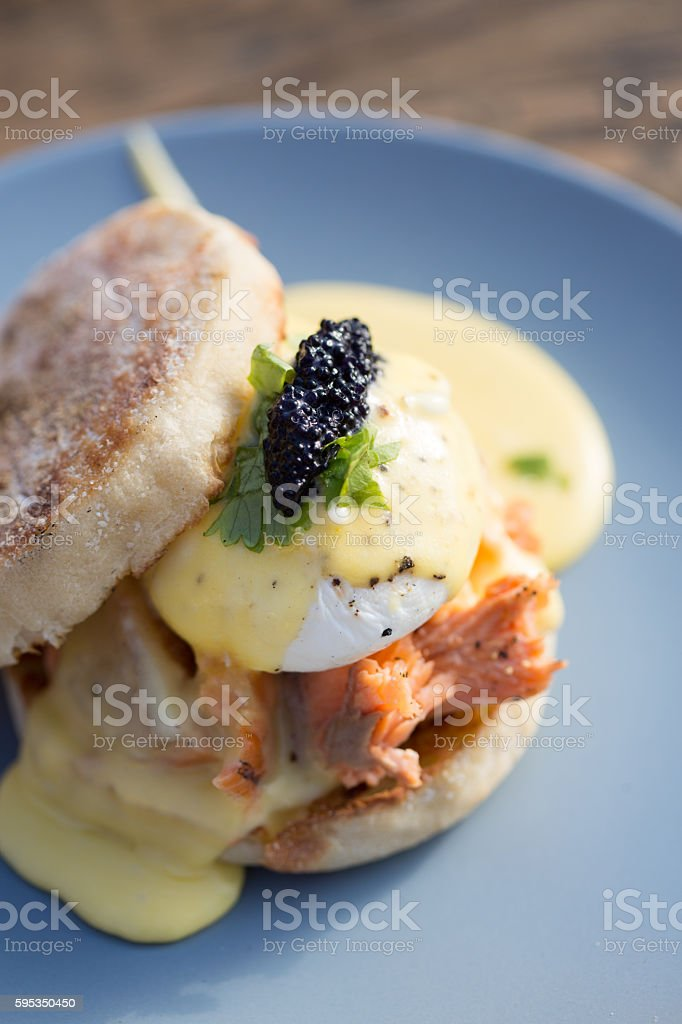 Poached Egg Hollandaise with Trout Kelp Caviar stock photo