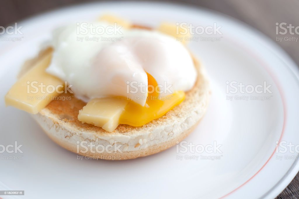Poached egg on muffin royalty-free stock photo