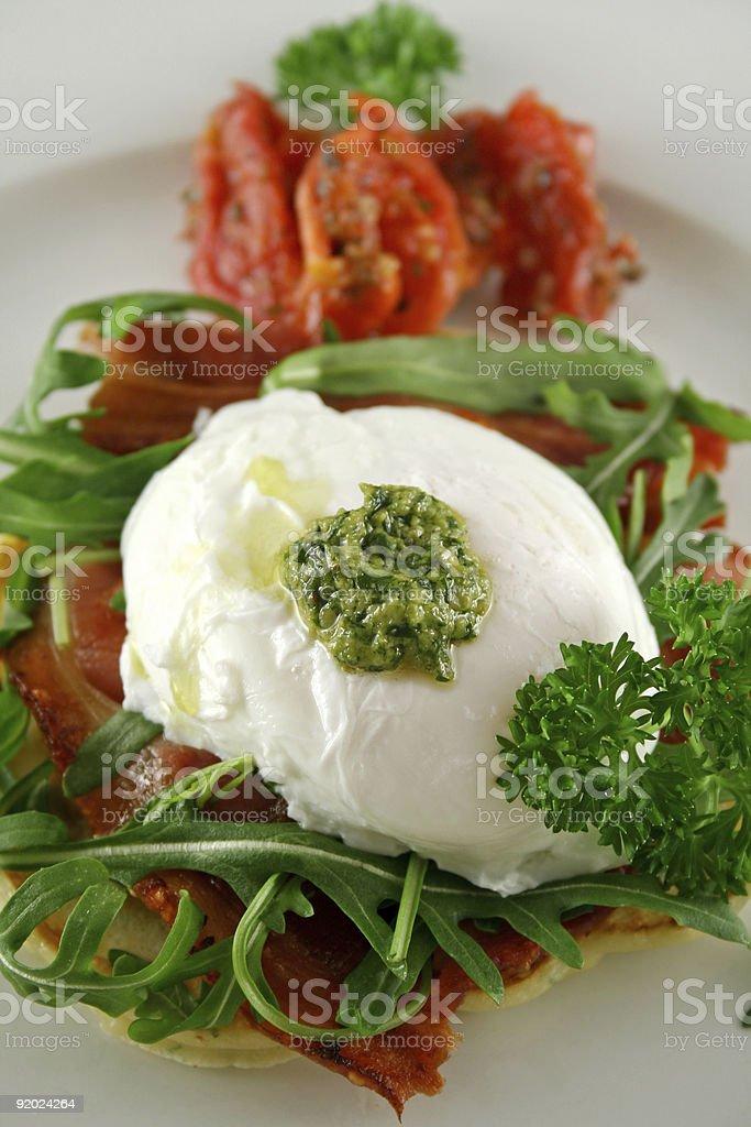 Poached Egg Pesto 2 royalty-free stock photo