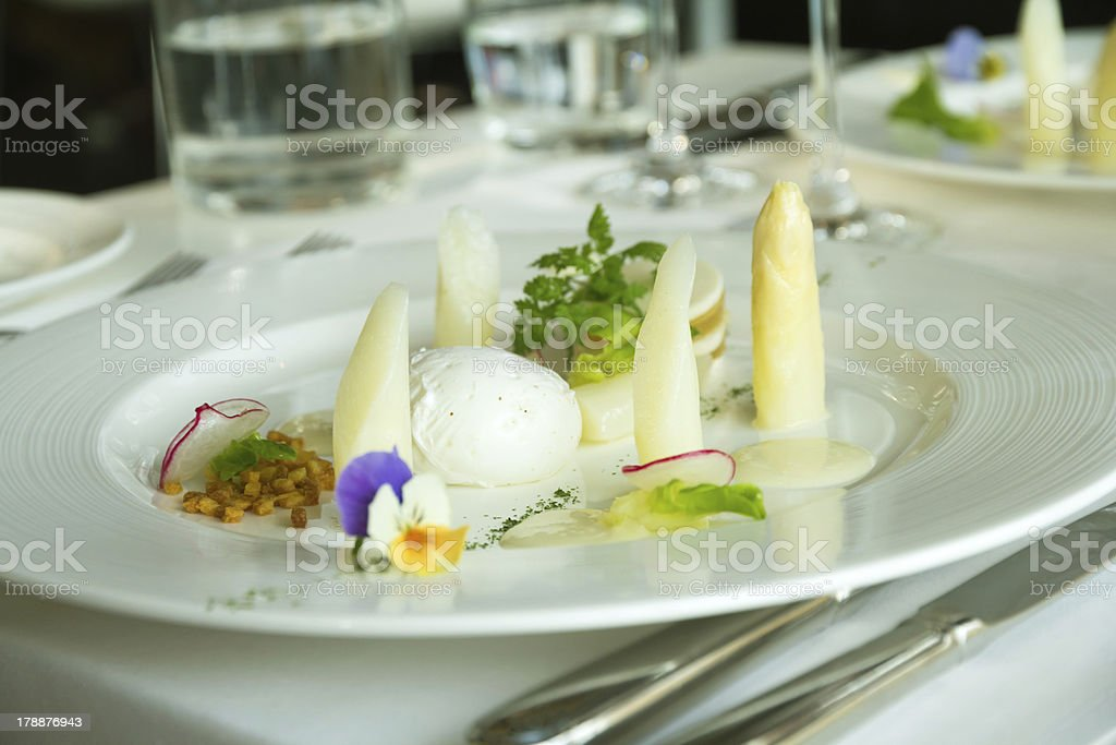 Poached egg with asparagus royalty-free stock photo