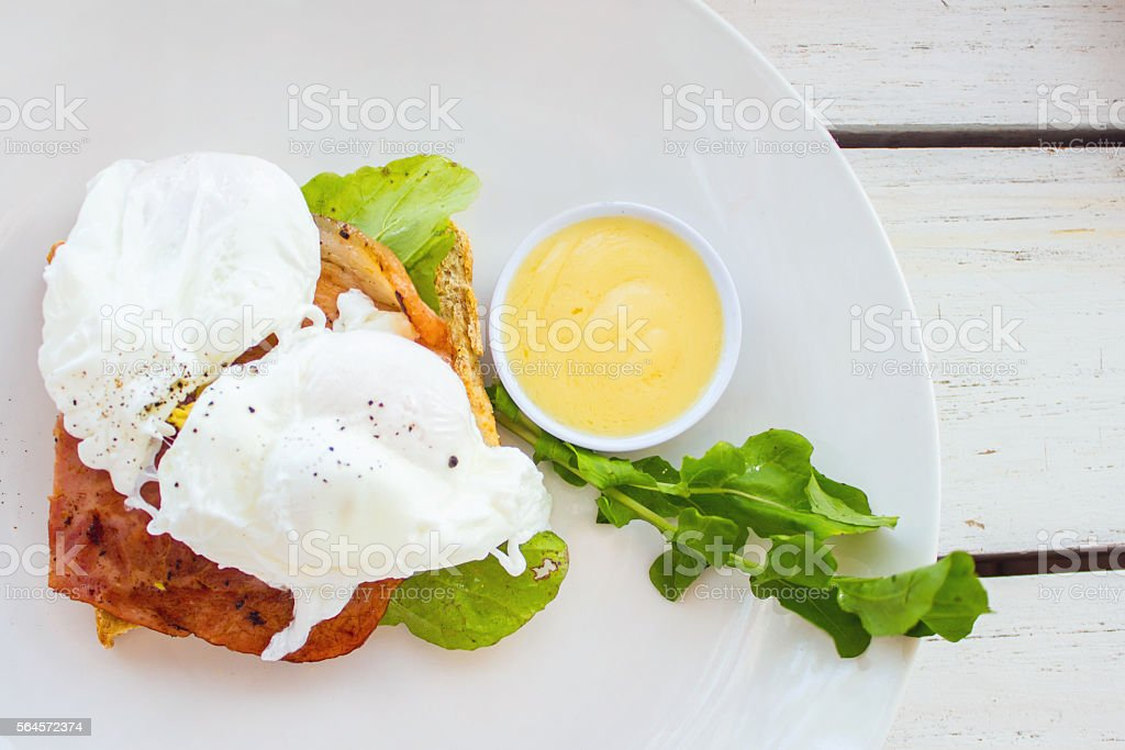 Poached eggs for healthy breakfast stock photo
