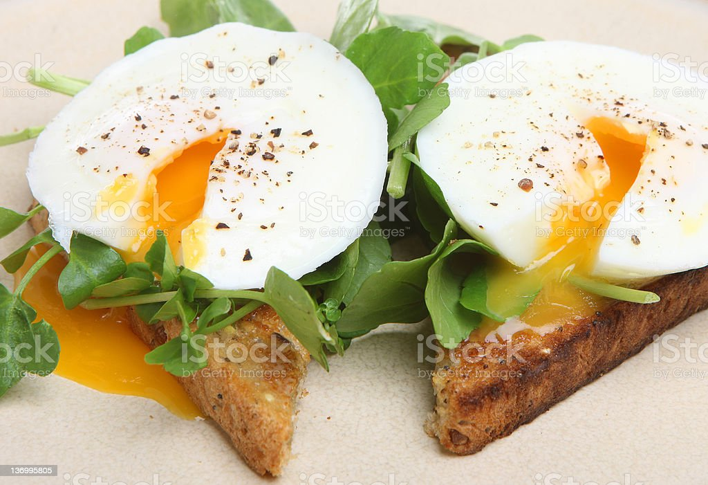 Poached Eggs on Toast stock photo