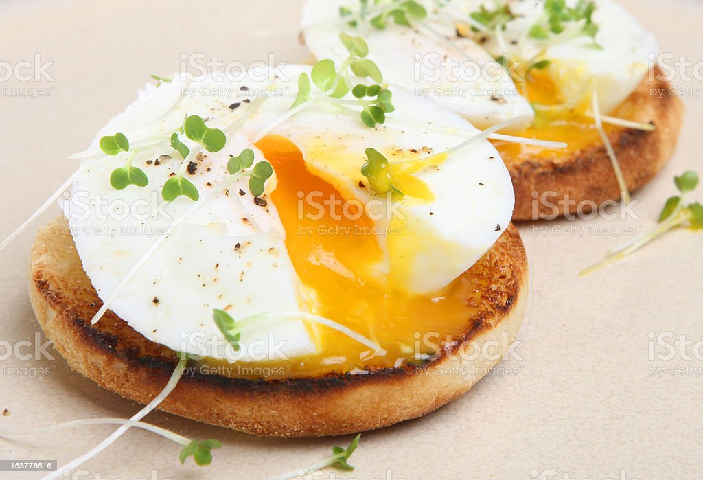 Poached Eggs on Toasted English Muffin stock photo