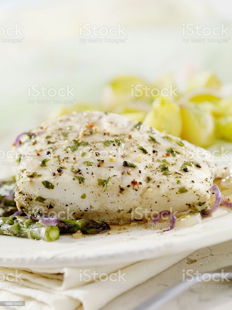 Poached Halibut royalty-free stock photo
