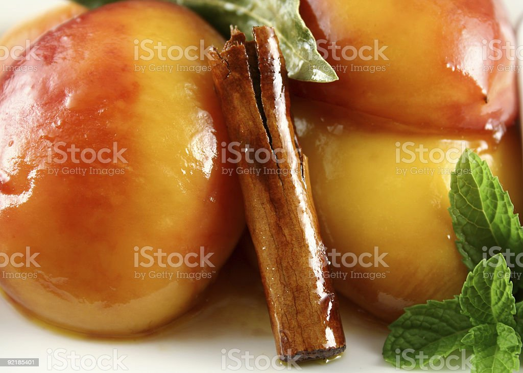 Poached Nectarines Background royalty-free stock photo