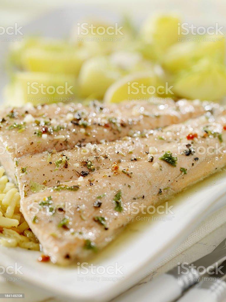 Poached Salmon Fillet royalty-free stock photo
