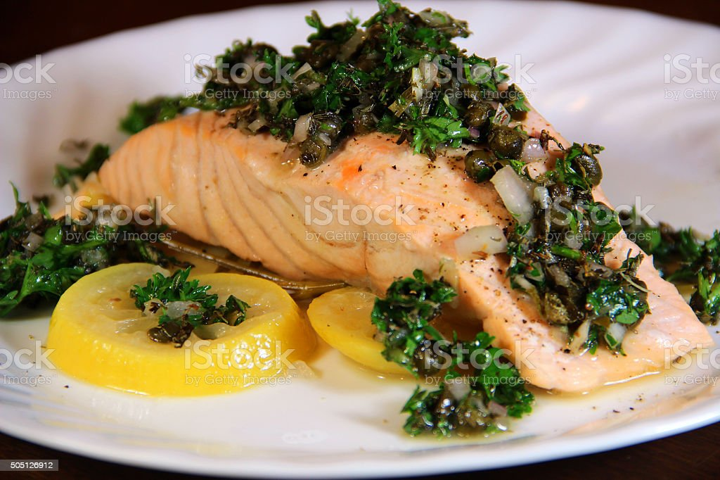 Poached Salmon stock photo