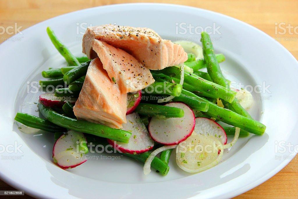 Poached Salmon stock photo