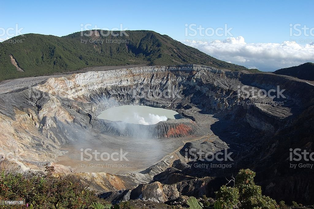 Poas volcano crater, Costa Rica stock photo