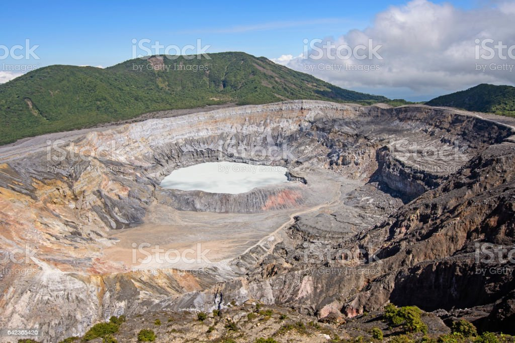 Poas Volcano Crater on a Sunny Day stock photo
