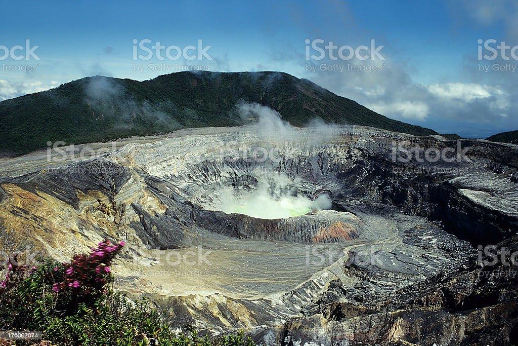 Poas Volcano with Sulphur stock photo