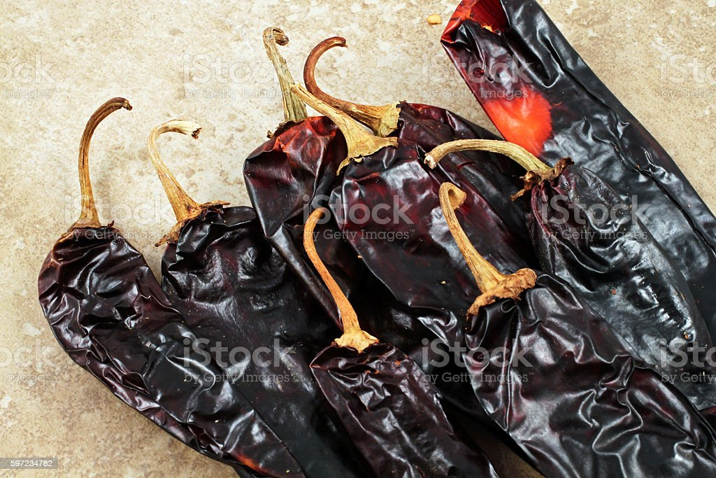 Poblano Peppers On A Rustic Background stock photo
