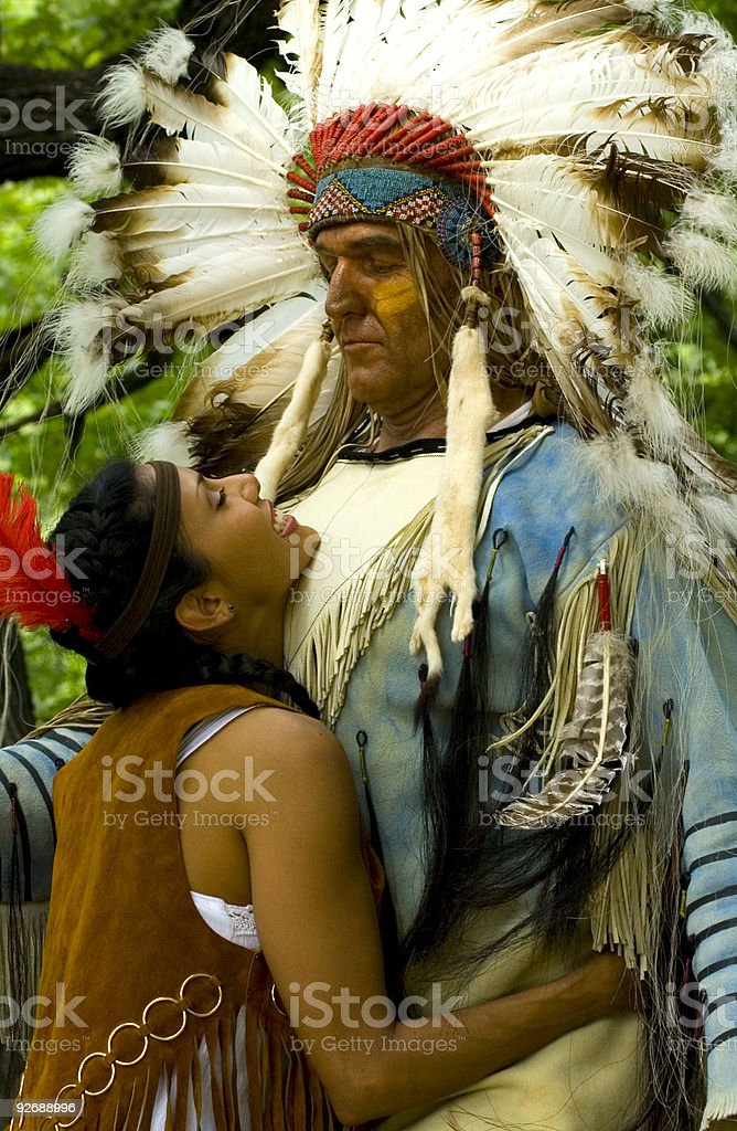 Pocahontas and the Chief stock photo