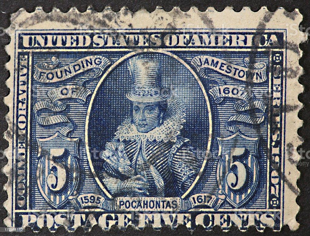 Pocahontas stamp 1907 stock photo