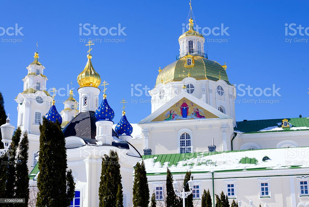 Pochaev lavra. Dormition Cathedral, dome. stock photo