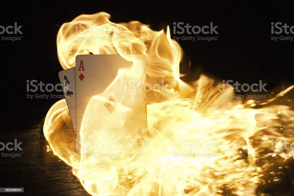 Pocket Aces on Fire royalty-free stock photo