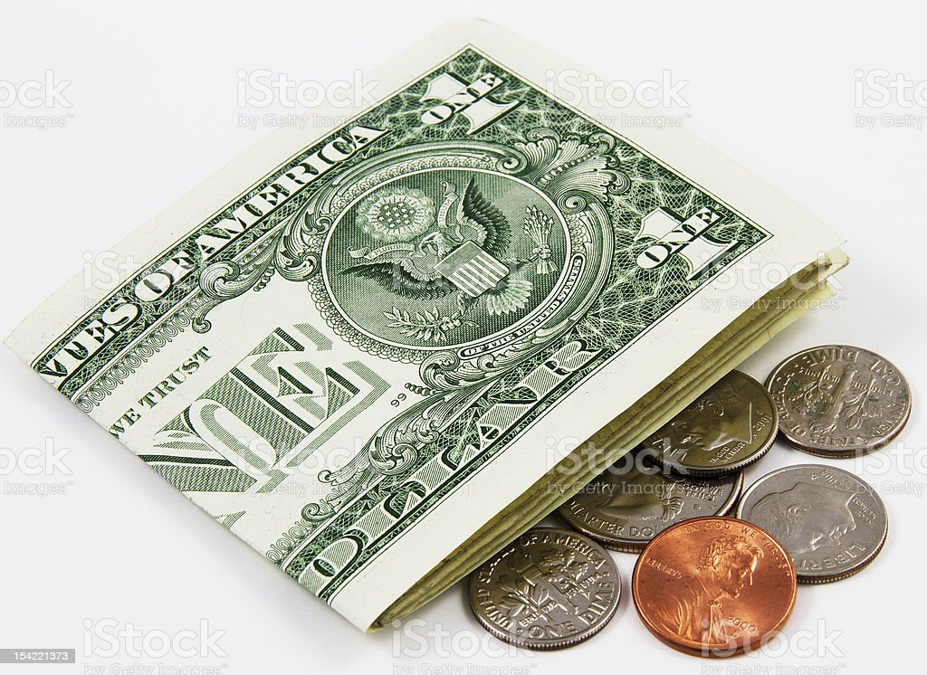 pocket change of US currency stock photo