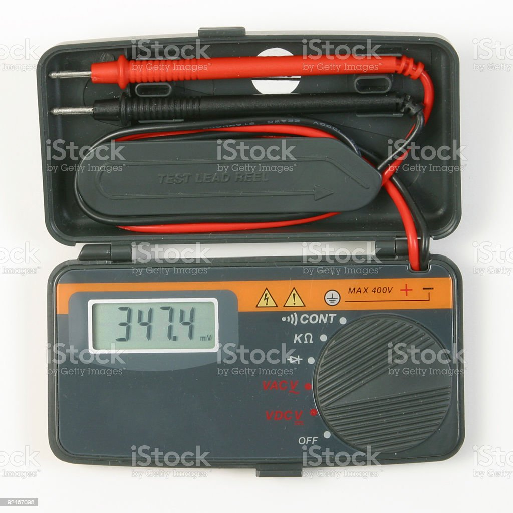 Pocket Digital Voltmeter stock photo