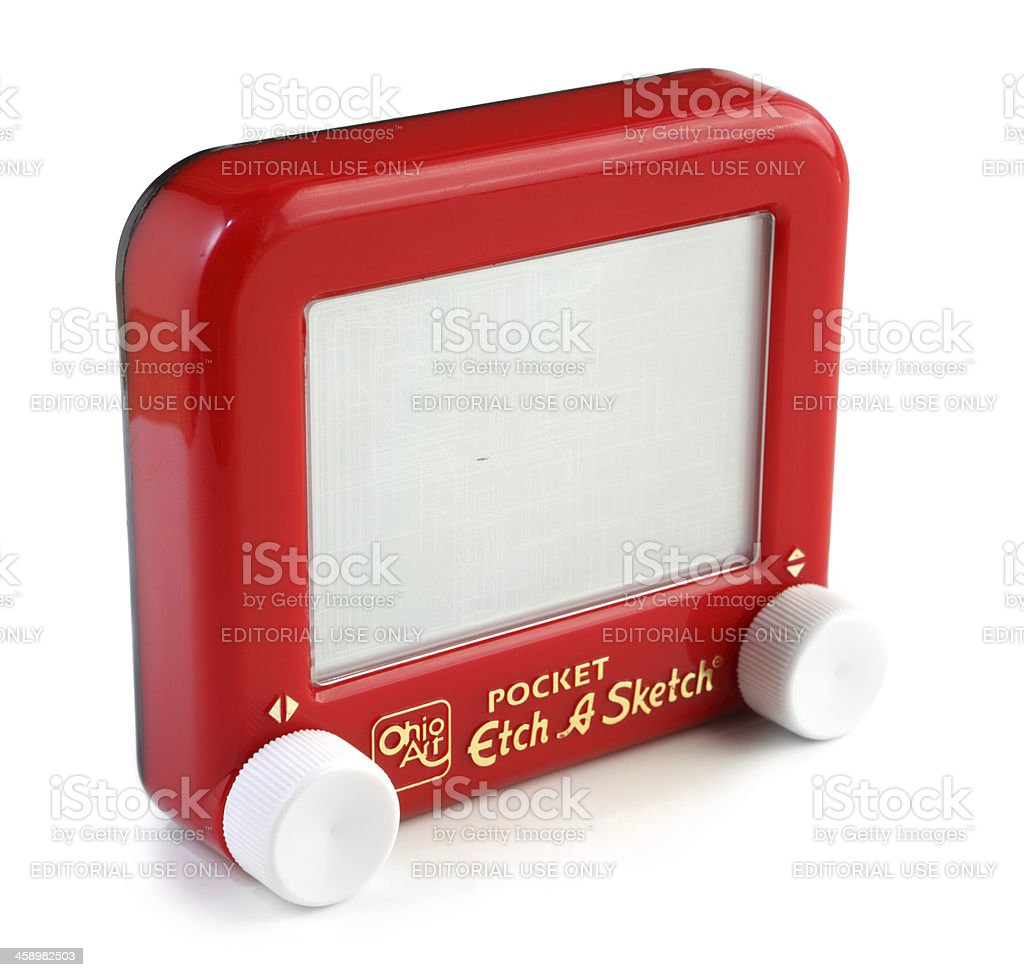 Pocket Etch A Sketch stock photo
