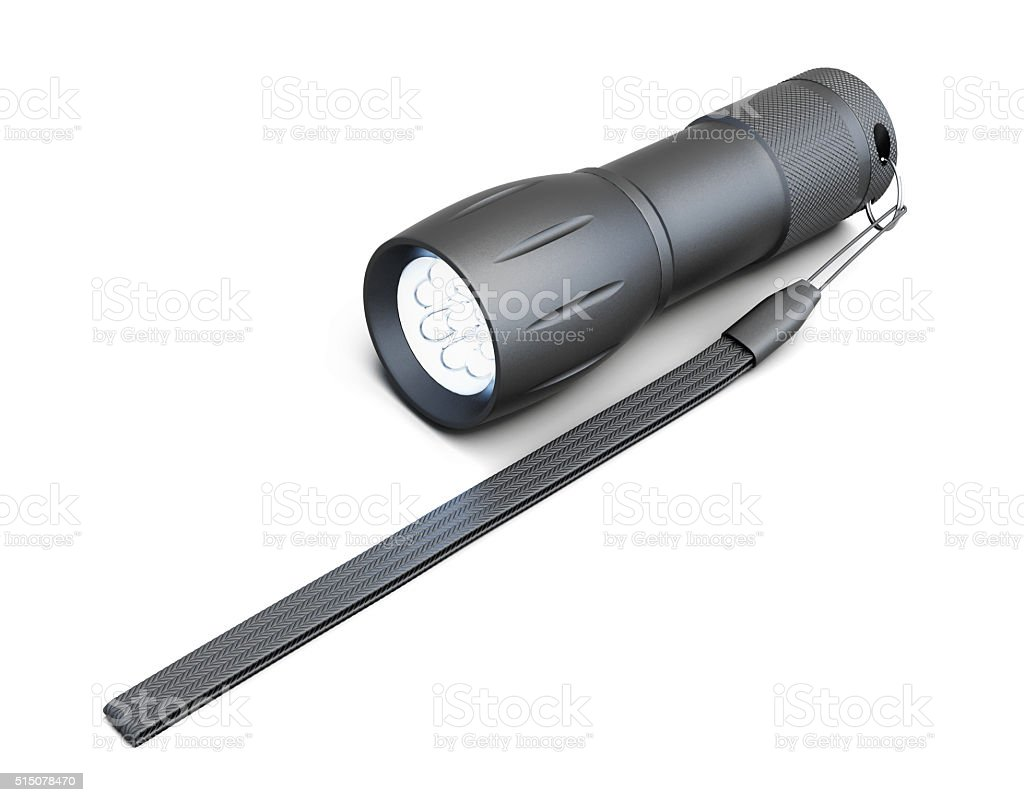 Pocket flashlight isolated on white background. 3d rendering stock photo