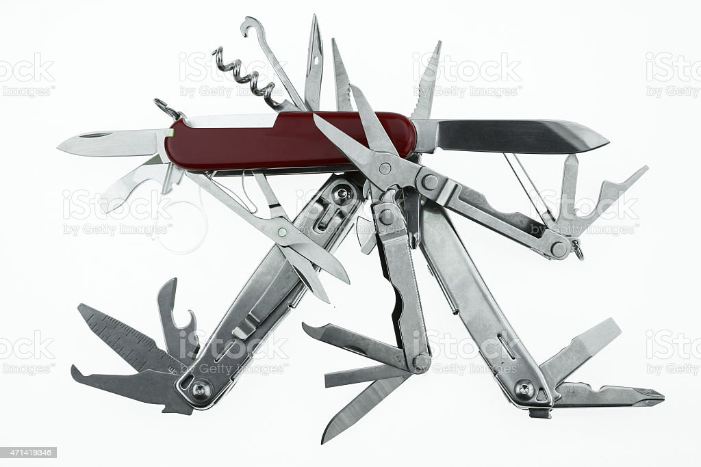 Pocket knife or Steel multi-function tools isolated on white background. stock photo