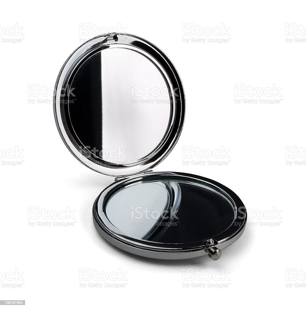Pocket make-up mirror stock photo